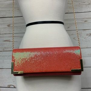 Bebe iridescent strap & clutch metal mesh purse